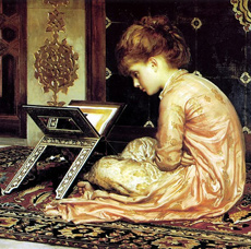 At the Reading Desk by Frederic Leighton